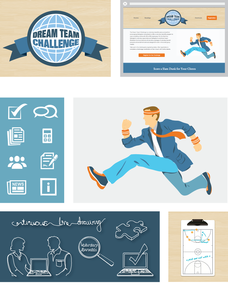 Dream Team business identity and illustrations