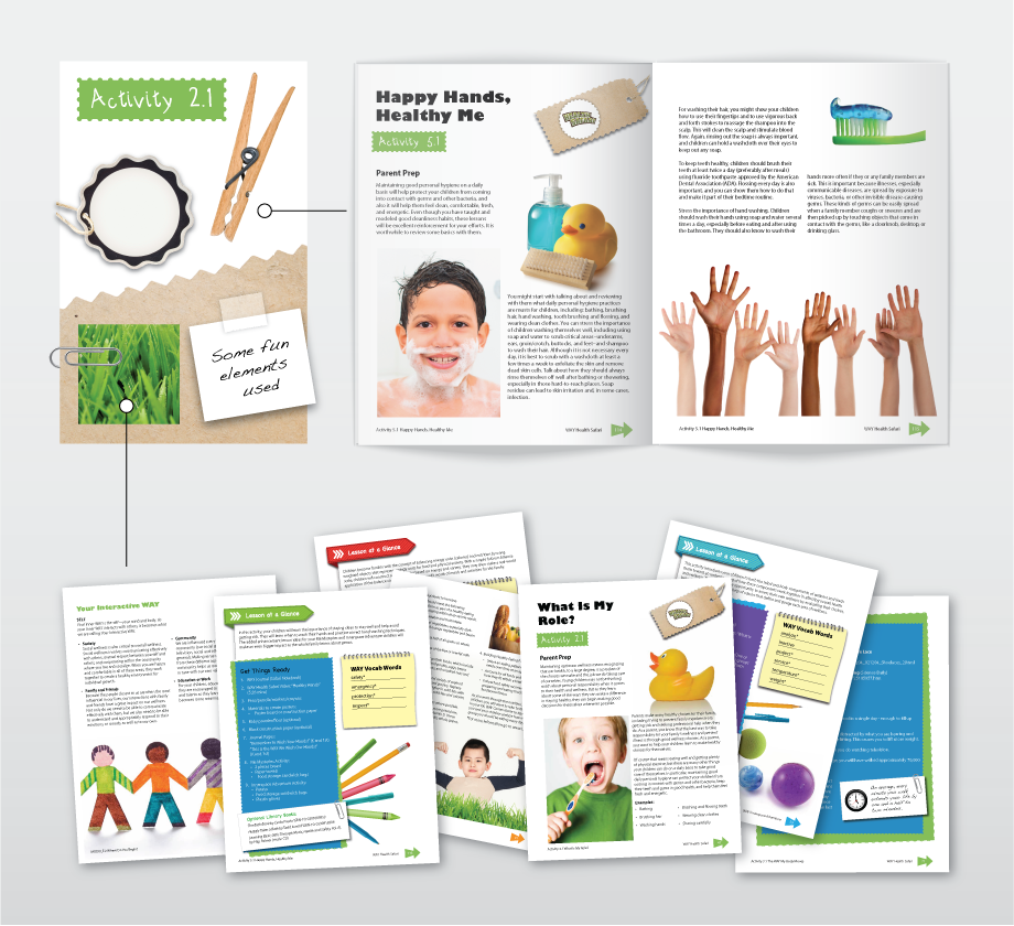 Parents guide educational publication, illustrations and designs